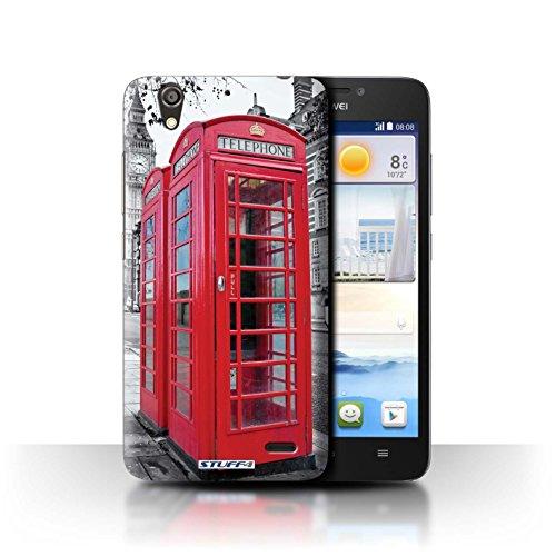 Stuff4® Hülle/Hülle für Huawei Ascend G630 / Red Phone Box Muster/London England Kollektion