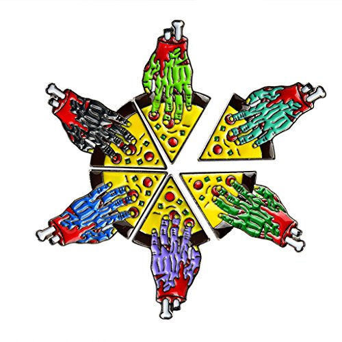 JAGETRADE 6 Teile/Satz Zombie Hand Pizza Pin Set Emaille Broschen Pins Freundschaft Schmuck Geschenk