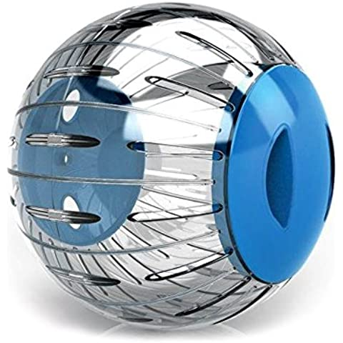 10573 Gioco per piccoli roditori Mini Twisterball in plastica rigida ø 12.5 cm. MEDIA WAVE store ® (Blu)