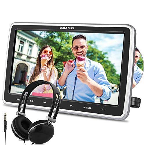 "BIGASUO 10.5\"" Auto DVD Player Tragbarer Kopfstütze DVD Monitor HDMI Eingang 1080P HD Bildschirm mit Kopfhöre USB/SD AV Out & IN"