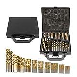 99pcs 1,5 mm – 10 mm High Speed Stahl Titan Spiralbohrer Set Werkzeug Professionelles Bohrwerkzeug für DIY Holzbearbeitung, Kunststoff und Metalle