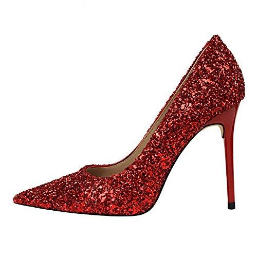 AalarDom Femme Couleur Unie à Talon Correct Pointu Tire Chaussures Légeresavec Paillette Rouge