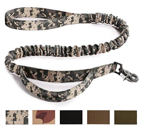 Hi Kiss Taktisch Hundeleine Führleine Nylon Ausbildung mit Halteschlaufen,Länge: 104cm (Vertraglich) - 139cm (Gestreckt) - ACU Multicam