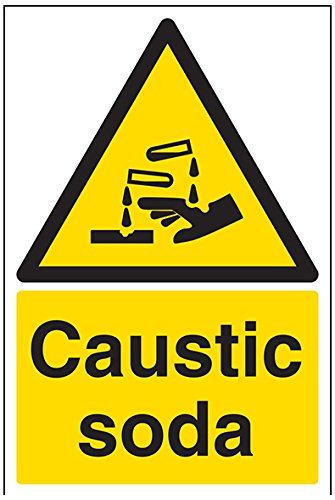 vsafety 6 a030au-s Soda caustica Warning Sign sostanza e chimiche, vinile autoadesivo, verticale, 200 mm x 300 mm, colore: nero/giallo