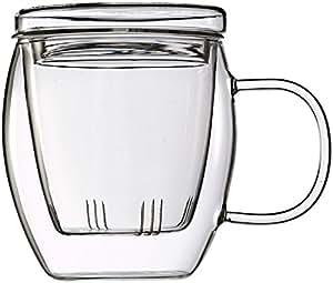 Feelino One and Go großes 400ml Teeglas mit Filter und Deckel, im schönen Geschenkkarton für`s Büro und unterwegs