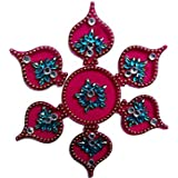 Handmade Elegantly Designed Pink Rangoli - With Paan Shape Design Decorated With Multicolour Stones And Beads On Pink Round Shaped Plastic Base - 7 Pieces Set - Packed In Transparent Pouch