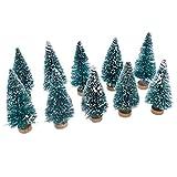 Hongma 10x Mini Schneetannen mit Holz Ständer Schneeflocken Türkis Weihnachtsbaum Deko Geschenk Fotografie Requisiten Ornamente