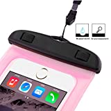 TheSmartGuard Wasserdichte Handyhülle , Hülle, Tasche, Staubdichte Schutzhülle für iPhone 7 (Plus) / 6 & 6s (Plus) / 5s / SE / 5, Galaxy S7 / S7 Edge / S6 und viele weitere Modelle bis zu 6 Zoll in pink -