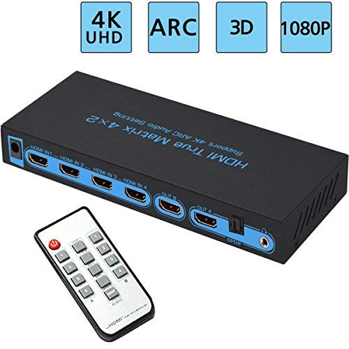 4x2 HDMI Matrix Switch FiveHome Ultra HD 4K x 2K@30Hz Switcher and Splitter with Optical & L/R Audio Output, Support ARC, Audio Extractor,3D 1080p