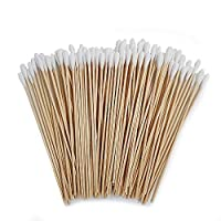 ‏‪100 Count 6 inches Premium Cotton Swabs with Long Wooden Handles for Gun Cleaning, Polishing Jewelry‬‏