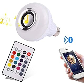 ALLCACA Smart Music Light Bulb Multicolored E27 LED Bulbs Dimmable Wireless Bluetooth Speaker with 24 Keys Remote Control for Party,Home,Halloween and Christmas Decorations