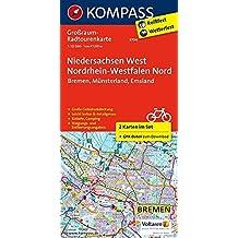 Niedersachsen West, Nordrhein-Westfalen Nord: Großraum-Radtourenkarte 1:125000, GPX-Daten zum Download (KOMPASS-Großraum-Radtourenkarte, Band 3704)