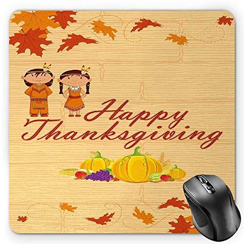 HYYCLS Kids Thanksgiving Maus Pad, Kinder in Native American Kostüm Einkochen Indigene Heritage, Standard Größe Rechteck Rutschfeste Gummi Mauspad, Orange Multicolor