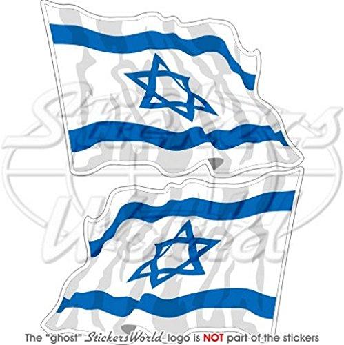 Israel Israelische Waving Flag jüdische 7,6cm (75mm) Bumper Sticker, Aufkleber Vinyl X2 (Jüdische Aufkleber)