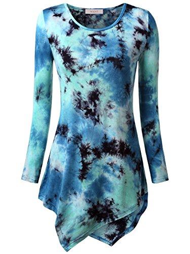 WAJAT Damen Langarm T-Shirt Asymmetrisch Hem Tunika Stretch Tie Dye Hellblau S
