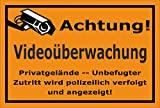 Video-Überwachung Schild - Achtung Videoüberwachung - Privatgelände – 30x20cm mit Bohrlöchern | stabile 3mm starke Aluminiumverbundplatte – S00348-007-E – Kamera-Überwachung +++ in 20 Varianten erhältlich