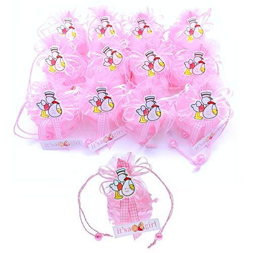 JZK 12 x It's a Girl Rosa Geschenkbox Gastgeschenk Süßigkeiten Schachtel für Baby Mädchen Geburtstag Taufe Neugeborenen Babyparty Baby Shower Kinder Party