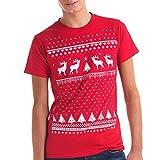 Leuchtet im Dunkeln Weihnachten Rentier T-Shirt - Männer - Weihnachtsrot