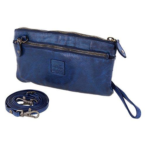 Bear Design Borsa a tracolla, portafoglio (20/ 12/ 2 cm) con cinturino da polso, CL13997 intrecciato, in pelle lavata Blu