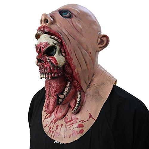Dead Halloween Kostüm Walking - Fulltime Tearing Throat Bloody Zombie Mask Schmelzendes Gesicht Adult Latex Kostüm Walking Dead Halloween Scary (As Shown)