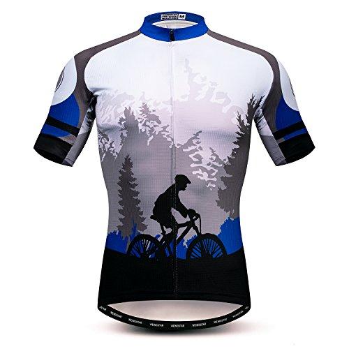 Weimostar Radtrikot Herren MTB Trikot Reißverschluss Kurzarm Biker Tops Mountain Road Bekleidung Fahrrad Shirts Jacke Sommer Pro Team Rennrad Trikot für Herren Atmungsaktiv Größe L