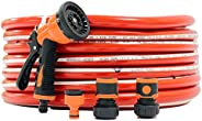 Garden Water Hose Reinforced 3/4 Inch 25 Meter with Garden Shower and Reducers (Red)