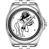 Personalisierte Herrenuhr Mode wasserdicht Uhr Armbanduhr Diamant 487. Englische Bulldogge in Trilby Hut