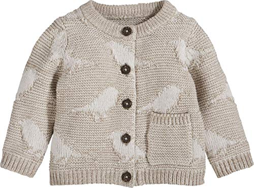 lupilu® Baby Mädchen Strickjacke aus 100% Bio-Baumwolle (Beige getwistet mit Vögelchen, Gr. 50/56)