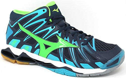 Mizuno Schuhe Volley Herren – Wave Tornado X2 Mid – v1ga1817 – 36 – Dress Blues/Green Gecko/Peacock blue-48.5 (Mizuno Wave Tornado Schuhe)