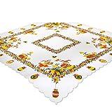 Tischdecke OSTERZEIT, 85x85 cm, weiß Ecru, Bedruckte Mitteldecke zu Ostern