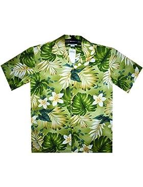 P.L.A. - Camisa casual - Floral - cuello en V - Manga corta - para hombre