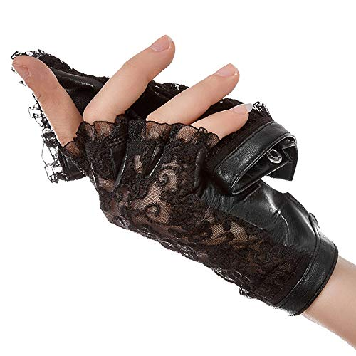 Agelec Halbe Fingerhandschuhe Damen Dünnschliff Sommer Fahren Sonnencreme Handschuhe Sexy Spitze Atmungsaktiv Leder Reiten (Größe : L)