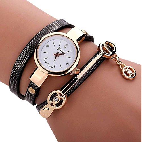 Winkey Armbanduhren Damen Leder Anhänger Strass Bohrung Analog Quarz Wickelarmband Armband Schwarz A