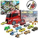 deAO Camion Trasportatore Custodia Portatile per Le Auto Giochi Vettore Compreso Un Totale di 10 Veicoli e Accessori