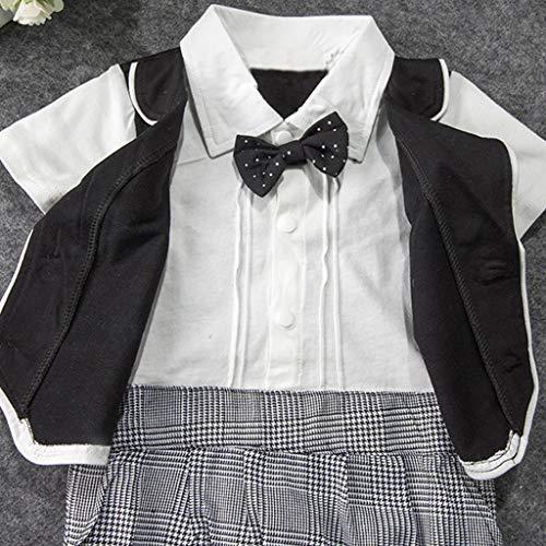 MHC~KJ Infant Baby Boys Short Sleeve Gentleman Romper Solid Print Jumpsuit Gray Image 4