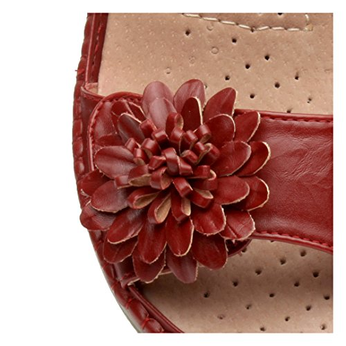 Ajvani Damen Kleiner Keilabsatz Klettband Slingback Blume Komfort Sandalen Größe Rot