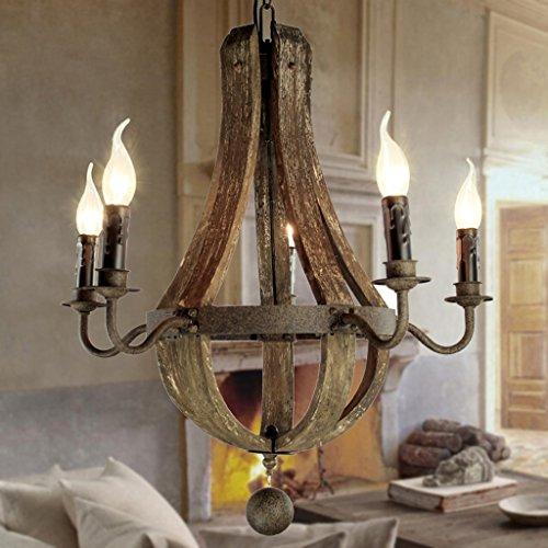 5 Licht Kronleuchter (Modern Deckenlampe Vintage Kronleuchter 5 Lichter Holz Kronleuchter Lampe Loft Licht Retro Licht D50 * H60CM Balkon Schlafzimmer)