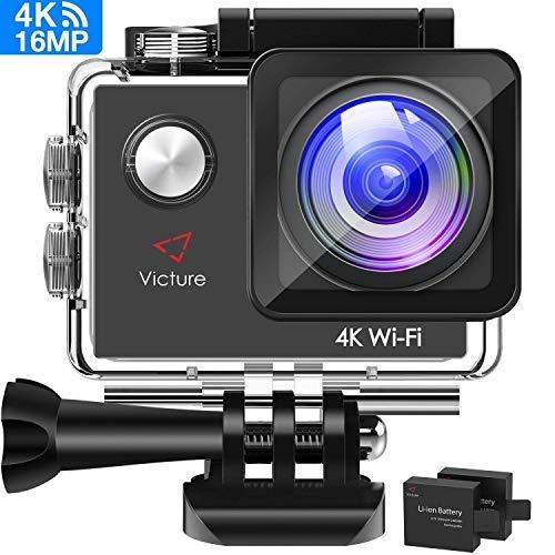 Victure Sportkamera, 4 K, WiFi, Wasserdicht, Video Kamera, 170 ° Wasseraufnahme, Weitwinkel, 2 Akkus mit je 1050 mAh, mit 20 Verschiedenen Zubehörteilen ...
