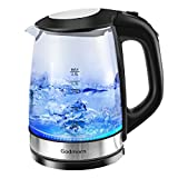 Godmorn Wasserkocher, Glaswasserkocher, Automatischer Teekessel aus Edelstahl mit Blaue LED-Beleuchtung und 2 Liter, Trockenlaufschutz, Kabellos, Kalkfilter, 2200 Watt, BPA-FREE