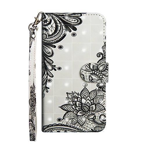 Sunrive Hülle Für Leagoo M9 Pro 5,72 Zoll, Magnetisch Schaltfläche Ledertasche Schutzhülle Etui Leder Case Cover Handyhülle Tasche Schalen Lederhülle(Schwarze Blume)+Gratis Eingabestift