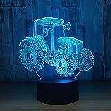 Tracteur 3D LED lumières lumières décoratives voiture forme USB charge tactile interrupteur lumières lumières colorées enfants nuit lumière cadeau de nouvel an...