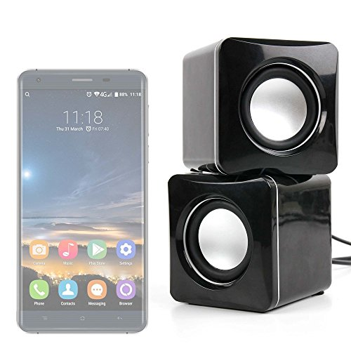 DURAGADGET Altavoces Compactos para Smatphone Hisense C30 Rock Lite/Onix S405 / Onix S551 / Oukitel K3 / SORAKA Z8 / VKWorld Mix Plus - Conexión Mini Jack + USB
