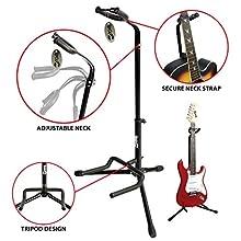 RockJam RJGS01 Universal vertical Guitar Stand for all Guitars Classic Guitar Stand Acoustic Guitar Stand Electric Guitar Stand and Bass Guitar Stand