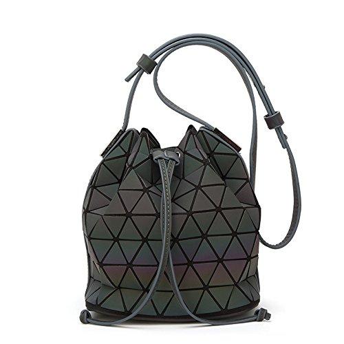 FZHLY Damen leuchtende Eimer Tasche bereift wilde Handtasche Farbverlauf Farbsatz Raute Vielzahl Umhängetasche