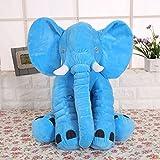KiKi Monkey lindo del elefante almohadilla animal del amortiguador del juguete de la felpa suave para la decoración, regalos para los niños juguetes de felpa 100% del algodón del niño para dormir almohada elefante (Blue)