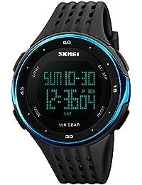 SKY SKMEI reloj deportivo cuarzo muñeca hombres analógico digital resistente al agua (Azul)