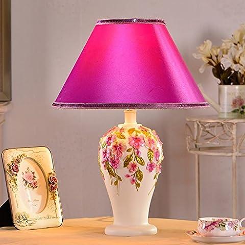 Lampada da tavolo europeo - stile Camera coreano comodino creativi pastorali regali di nozze Dimming Desk Lamp ( colore : Pink A-Interruttore dimmer )
