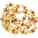 Malabar Gems Panchmukhi Rudraksha Clear Quartz (Sphatik) Golden Cap 54 Beads Spiritual Rosary Mala