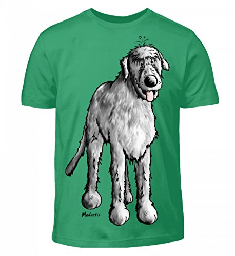 Shirtee Hochwertiges Kinder Lustiger Irischer Wolfshund Comic Hund Pacific Green