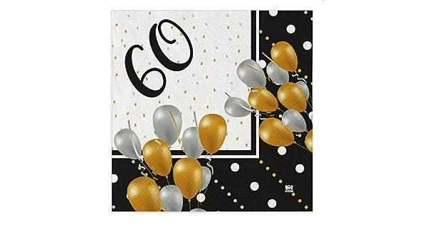 Unique Party 16 Pezzi 45806 Tovaglioli di Carta 60 Anni